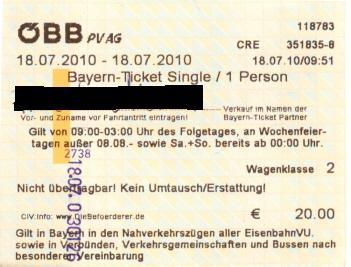 Bayernticket single automat